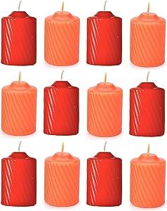 Set of Twelve (12) Pumpkin & Spice Scented Votive Candles - Orange Pumpkin-Scented & Red Spice-Scented - Fall & Thanksgiving Warm Eloquent Candle Set - for Home Decor or Parites - Bundle of 12-Items