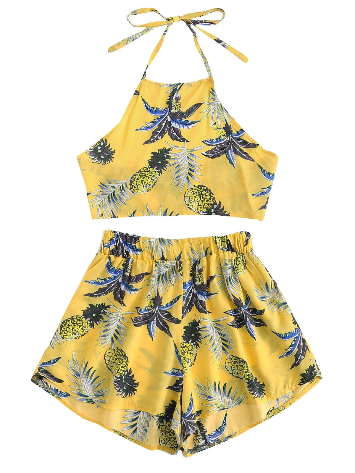 July A Women's 2 Piece Outfits Halter Sleeveless Crop Cami Top and Shorts Set Yellow S