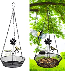 ALLADINBOX Hanging Bird Feeder Tray, 19inch Platform Metal Mesh Seed Tray for Bird Feeders, Outdoor Garden Decoration for Wild Backyard Attracting Birds