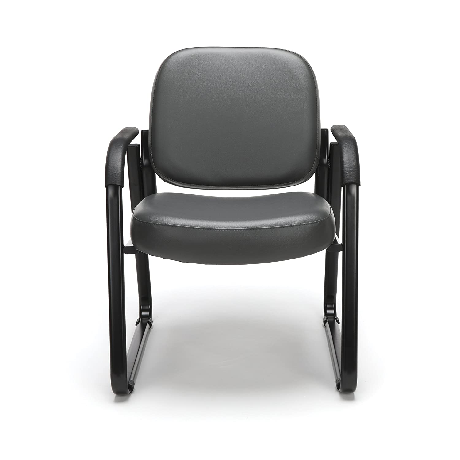 OFM Reception Chair with Arms – Anti-Microbial Anti-Bacterial Vinyl Guest Chair, Charcoal 403-VAM