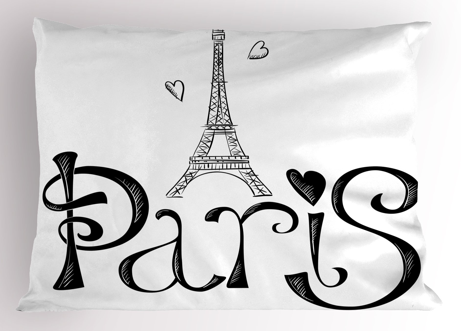 Ambesonne Paris Pillow Sham, Illustration with Eiffel Tower France Heart Shapes Silhouette Vacation Theme Art, Decorative Standard Queen Size Printed Pillowcase, 30 X 20 Inches, Black White