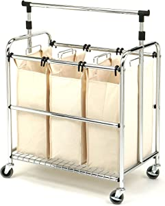 Seville Classics Mobile 3-Bag Reinforced Heavy-Duty Laundry Hamper Sorter Cart /w Clothes Rack