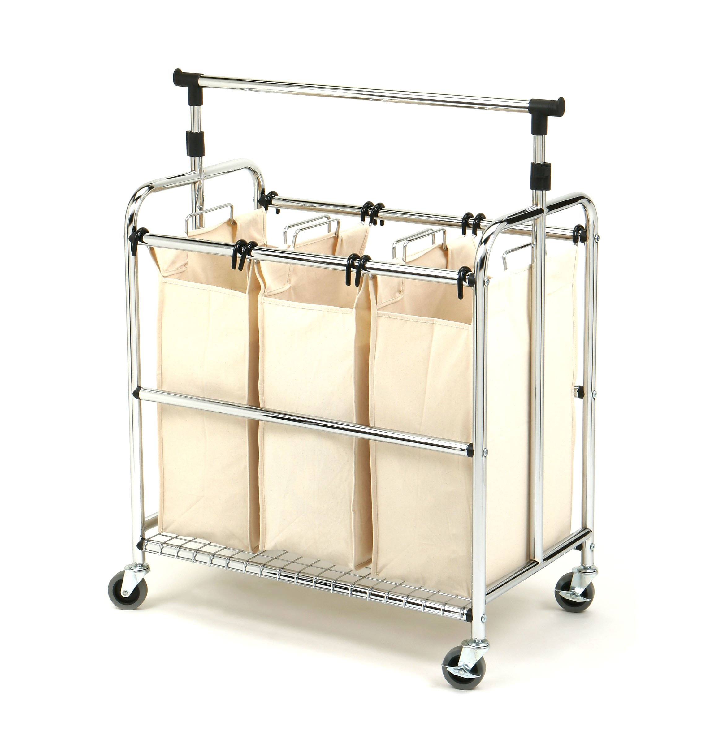 Seville Classics Mobile 3-Bag Reinforced Heavy-Duty Laundry Hamper Sorter Cart /w Clothes Rack by Seville Classics