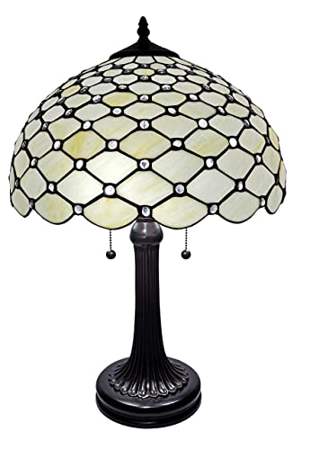 Amora Lighting Tiffany Style Table Lamp Banker Jeweled 26 Tall Glass White Yellow Stains Antique Vintage Light Decor Nightstand Living Room Bedroom Handmade Gift AM1041TL16B