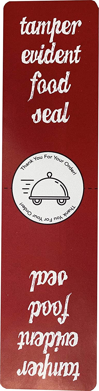 InStockLabels 500 Red Tamper-Evident Food Seal Stickers, Labels for Food Containers (1.5 Inches x 6 Inches)