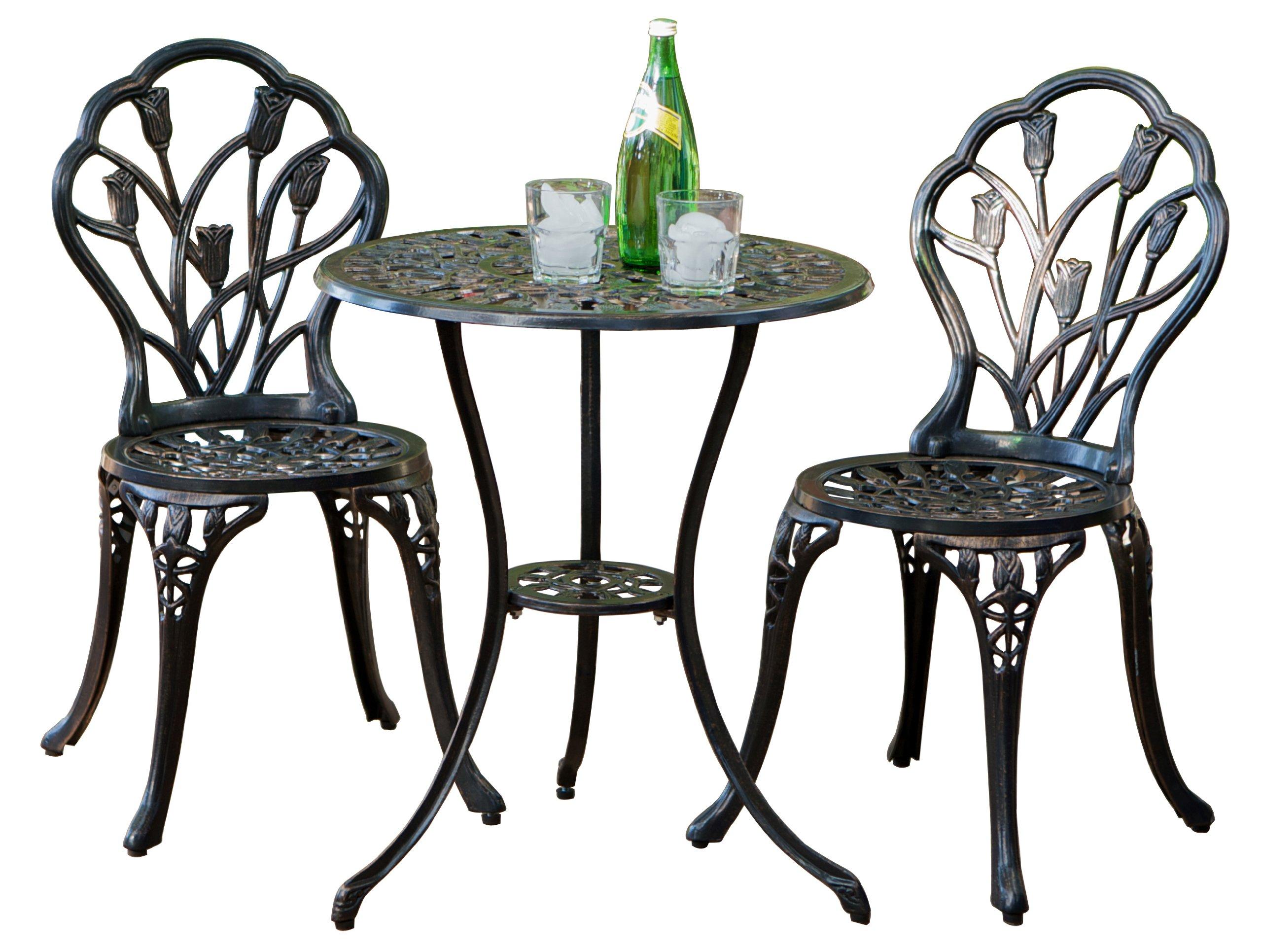 Amazon com best selling nassau cast aluminum outdoor bistro furniture set brown garden outdoor