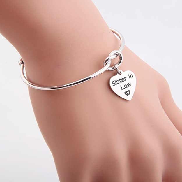 Ensianth Sister in Law Gift,Sister of The Groom Bracelet Love Knot Bangle Adjustable Tie The Knot Cuff Bangle Sister in Law