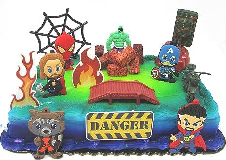 Excellent Amazon Com Avengers Deluxe Super Hero Birthday Cake Topper Set Personalised Birthday Cards Akebfashionlily Jamesorg