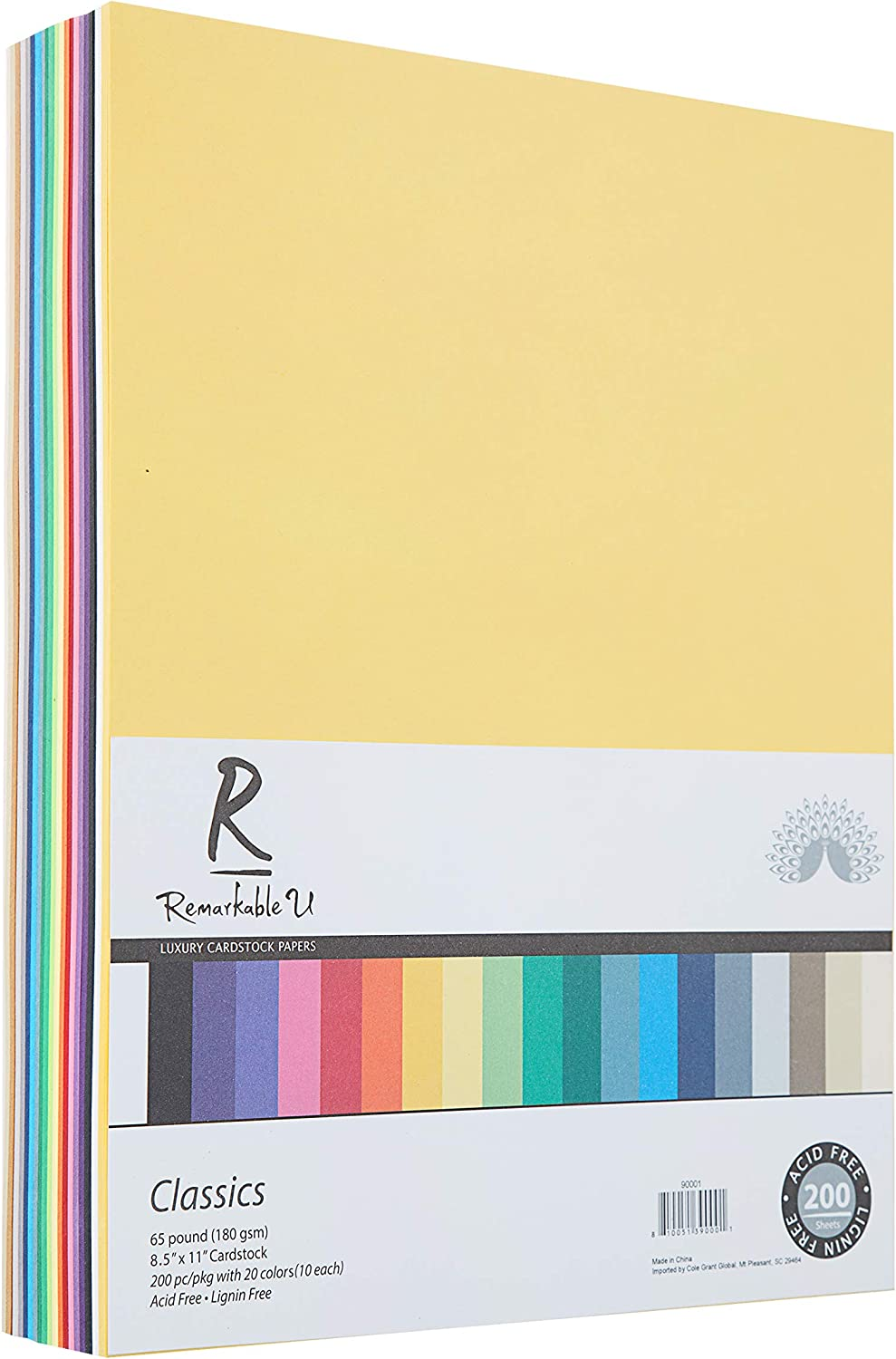 "Premium Colored Cardstock Paper 8.5"" x 11"", Assorted Classic Colors 