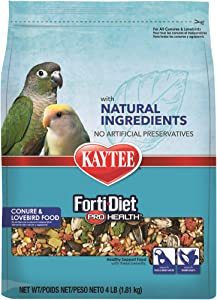 Kaytee Forti-Diet Pro Health with Natural Colors Conure and Lovebird Food, 4 lbs.