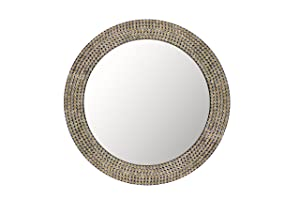 Hosley Decorative Gold Metal Studded Wall Mirror