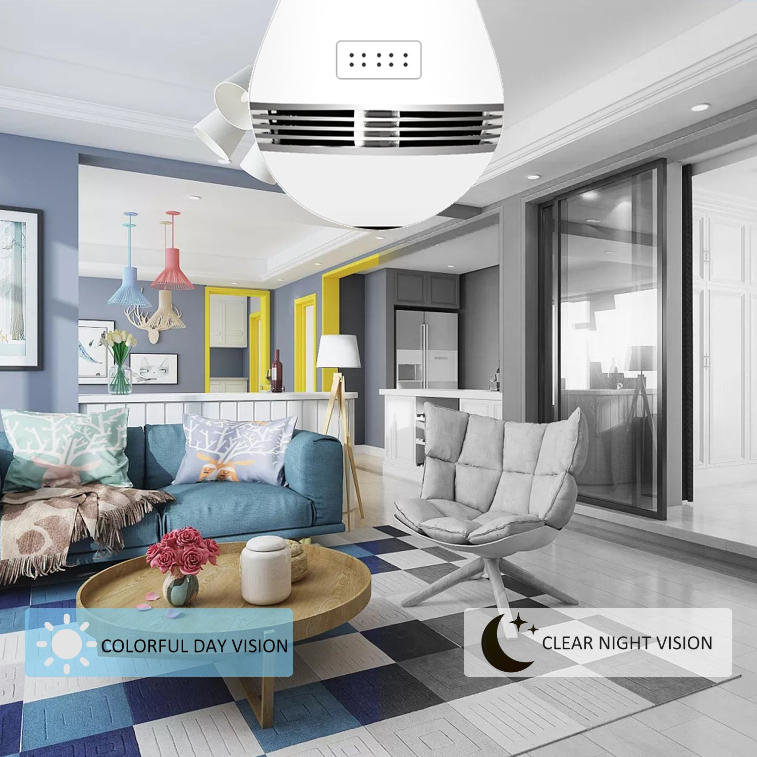 Light Bulb Camera VR Panoramic IP Wireless WiFi Camera Include 16GB TFCard with Cloud Store 360 Degree Fisheye Lens Lighting Lamp for Home Security Camera Bulb 960P HD E27 LED Dimmable Lamp by Looline (Image #4)