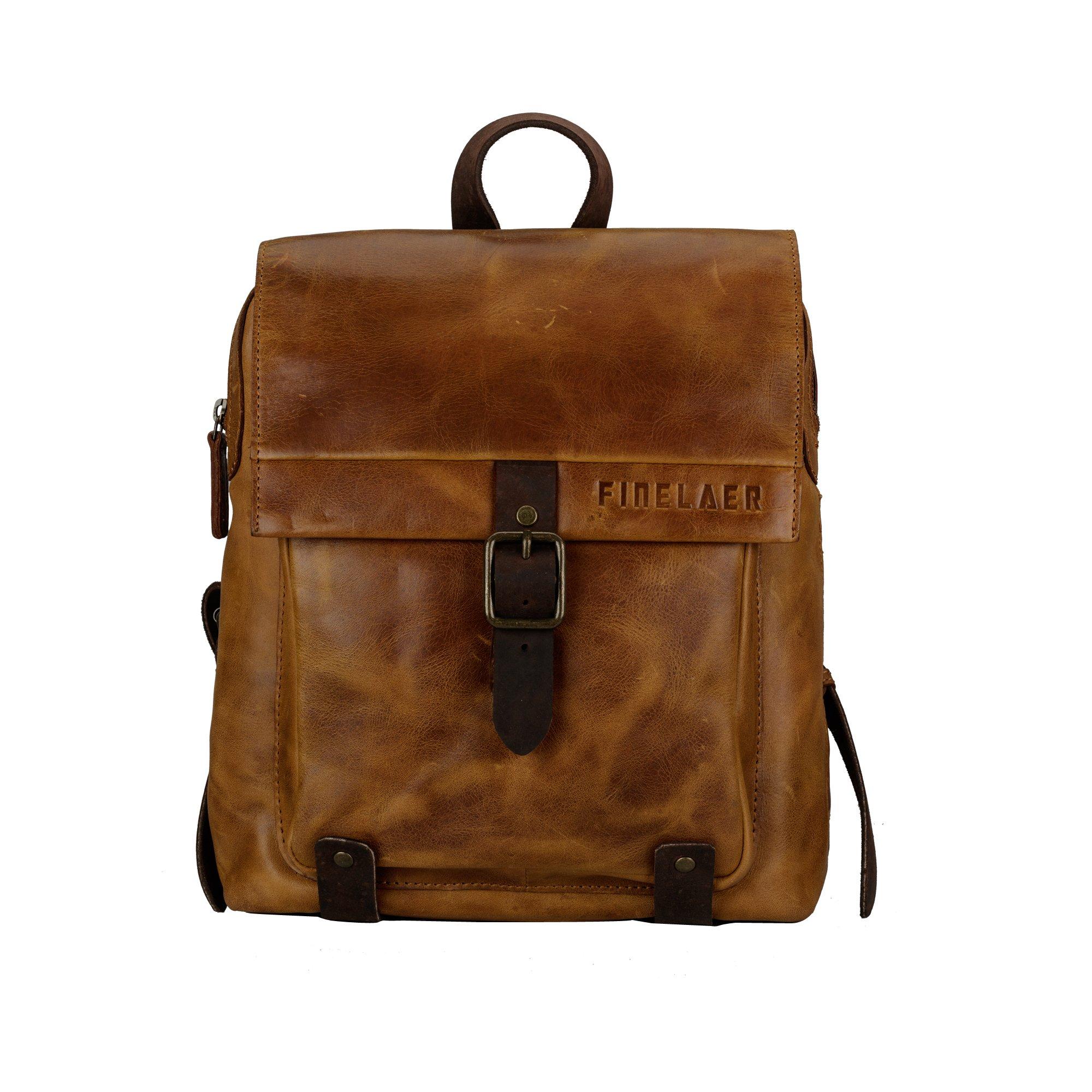Finelaer Vintage Genuine Leather Backpack DayPack Travel College Bag Brown Men Women by FINELAER