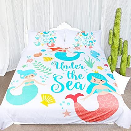 ARIGHTEX Mermaid Bedding Blue Turquoise Bedding Set Baby Girl Mermaid Duvet  Cover Under The Sea Theme Bedding Comforter Cover (Queen)