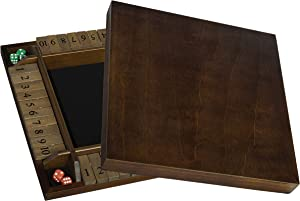 4 Player Shut The Box(TM) dice Game with Lid by WE Games - Walnut Wood – 1 to 4 Players can Play at The Same time for The Classroom, Home or Pub - Large Size - 14 inches