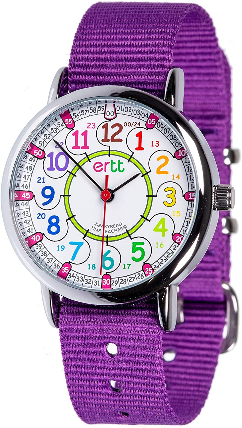 EasyRead Time Teacher Analog Learn The Time Childrens Watch Purple #ERW-COL-24