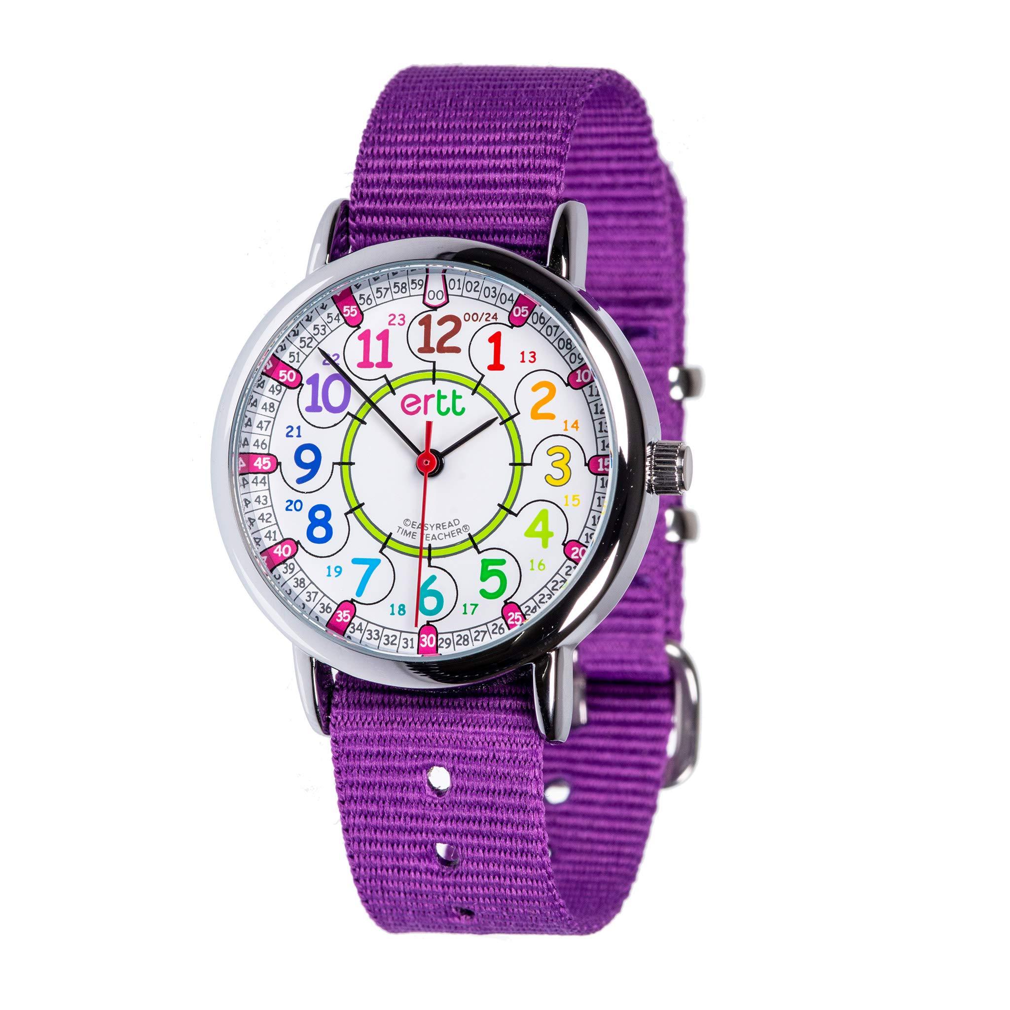 EasyRead Time Teacher Children's Watch, Rainbow 12/24 Hour Face, Purple Strap by EasyRead Time Teacher