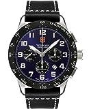 Victorinox Swiss Army Men's 241188.1 Airboss Mach VI Black/Blue Leather Watch