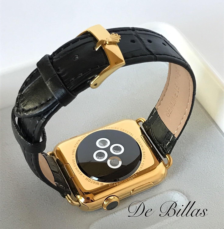 24K Gold 42MM Apple Watch SERIES 2 with Black Alligator Grain Band ROLEX Buckle