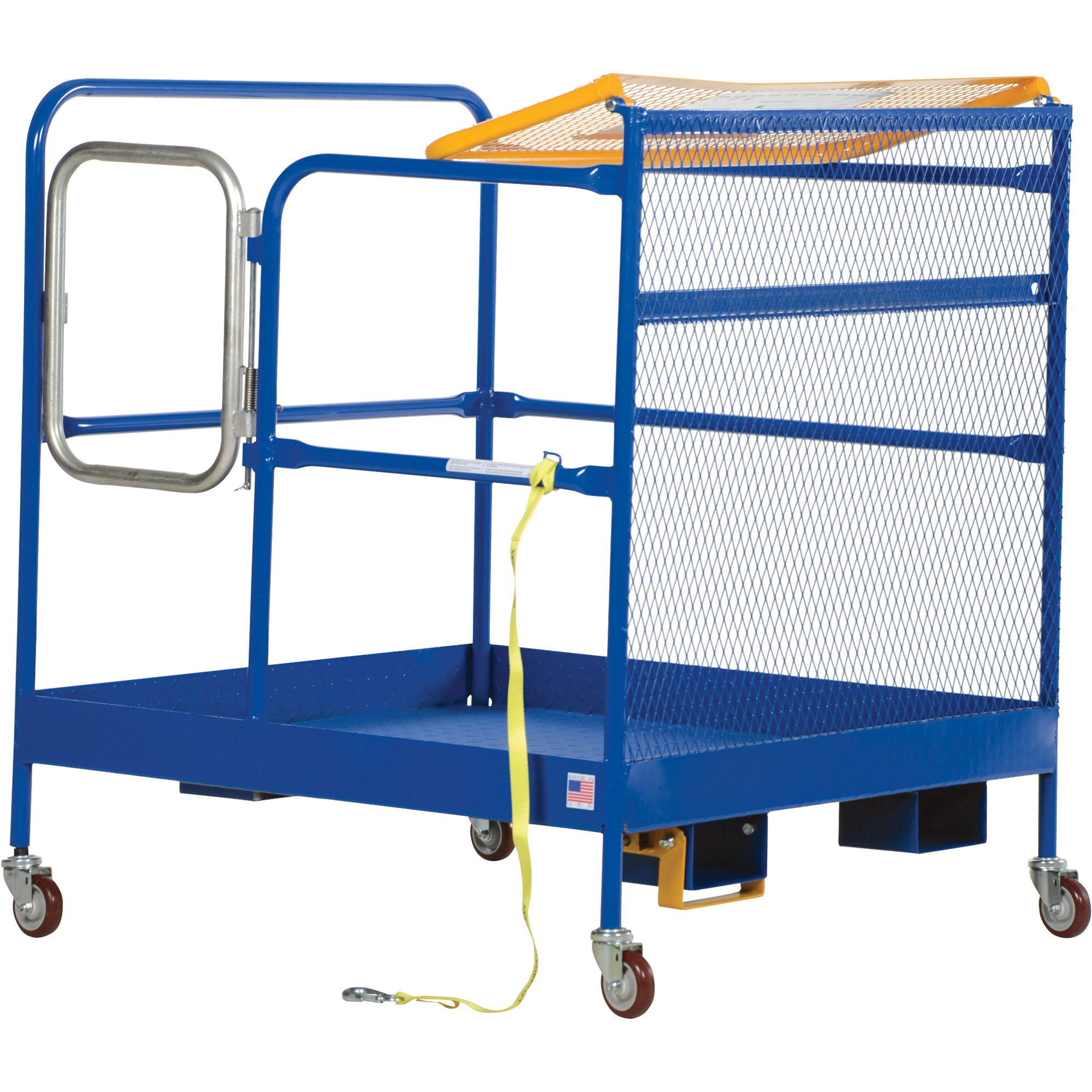 Vestil WP-3636-CA Steel Work Platform, 1000 lb Capacity, 36'' x 36'' with Casters, Powder Coat Blue, not for use in California