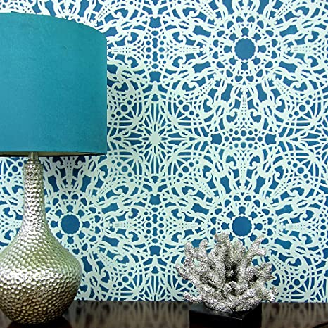 Amazon com: Stephanie's Lace Allover Wall Pattern Stencil