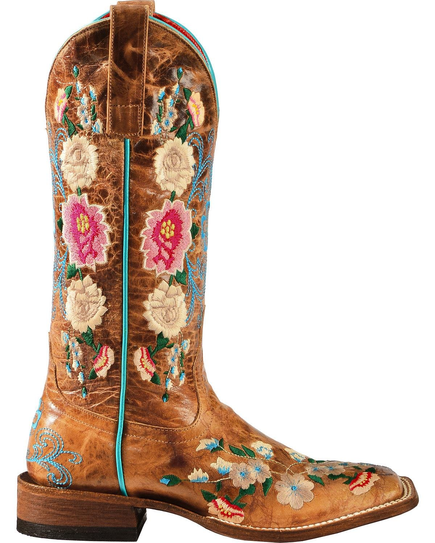 Macie Bean Ladies' Square Toe Honey Floral Boots B013Z5RTYG 8.5 B(M) US|Honey