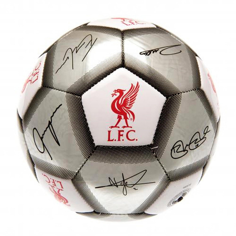 リバプールFC公式シルバー署名Crestフットボール/サッカーボールサイズ5 B01LYC6LXJシルバー One Size
