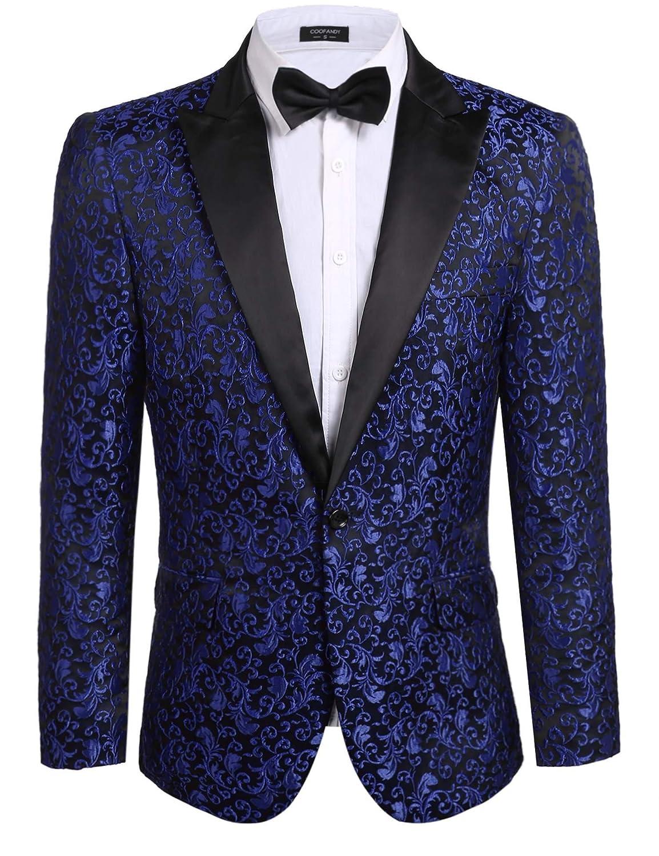 COOFANDY メンズ 花柄パーティードレススーツ スタイリッシュなディナージャケット ウェディングブレザー プロムタキシード B07BSB7YXF US XXXL|ブルー ブルー US XXXL