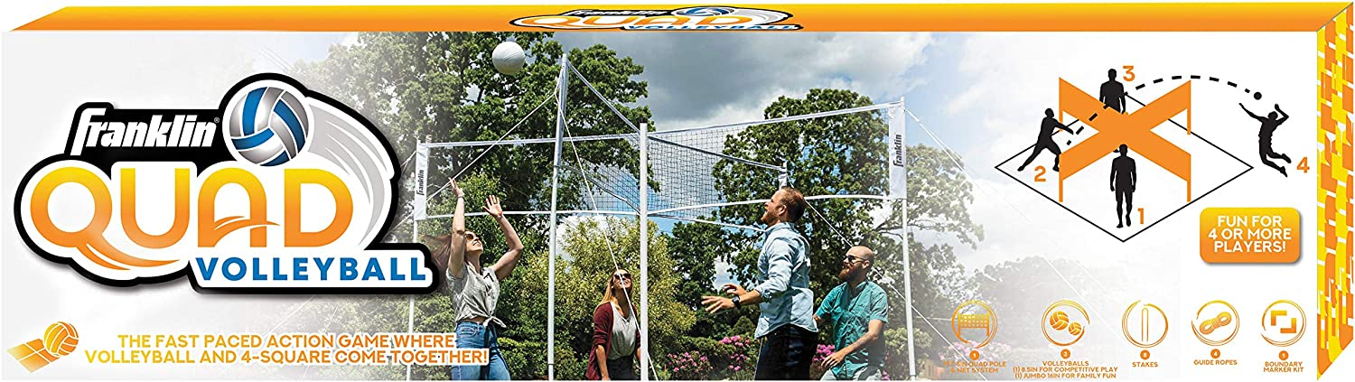 Complete Net System Volleyball Meets 4 Square Boundary Kit//Line Markers Franklin Sports Quad Volleyball Jumbo and Traditional Volleyballs Included