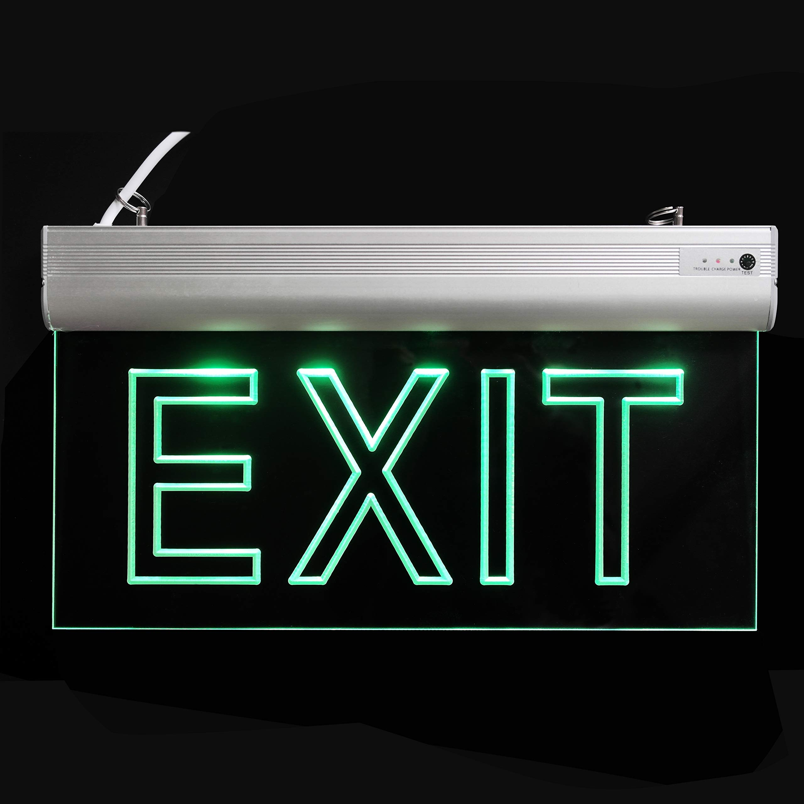 LFI Lights - 2 Pack - Certified - Hardwired Red LED Edge Light Exit Sign - Rotating Panel Battery Backup,Clear Panel(Green) by ryumei (Image #2)