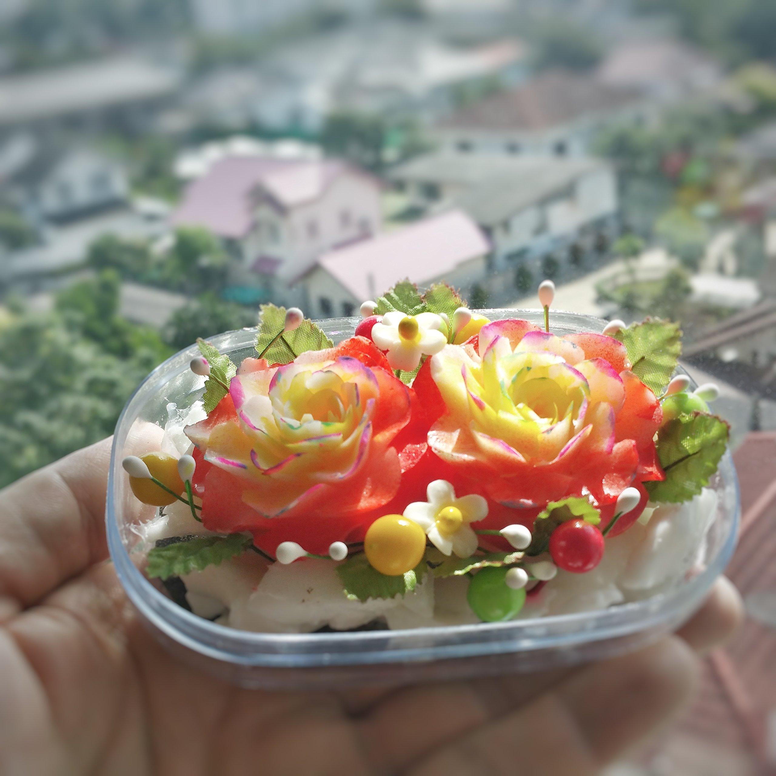 Orange Festive Flowers Hand Carved Soap Bar, Jasmine Aroma Essential Oil, Handmade Decorative Soap Carving for Home by Thai Artisan