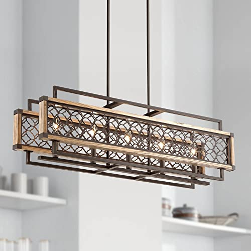 Vickary Bronze Wood Linear Pendant Chandelier 36 1 4 Wide Rustic Farmhouse 5-Light Fixture for Kitchen Island Dining Room – Regency Hill
