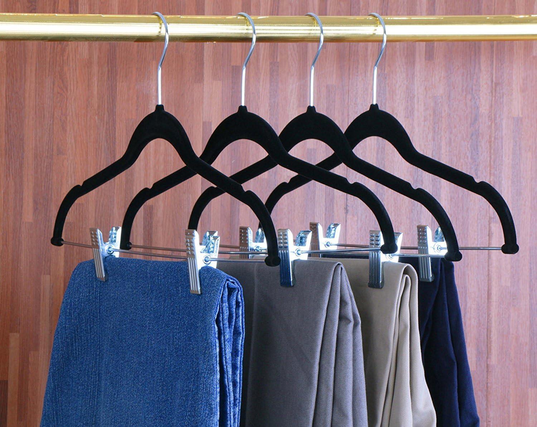 Color Negro Perchas de Terciopelo Xndryan Perchas para Pantalones con Clips 12 Paquetes de Perchas para Pantalones Resistentes Antideslizantes