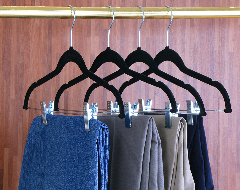 Xndryan cintres /à Pantalon avec Clips de Fixation 12/Paquets de Heavy Duty Pantalon cintres antid/érapant cintres Cintres en Velours Noir
