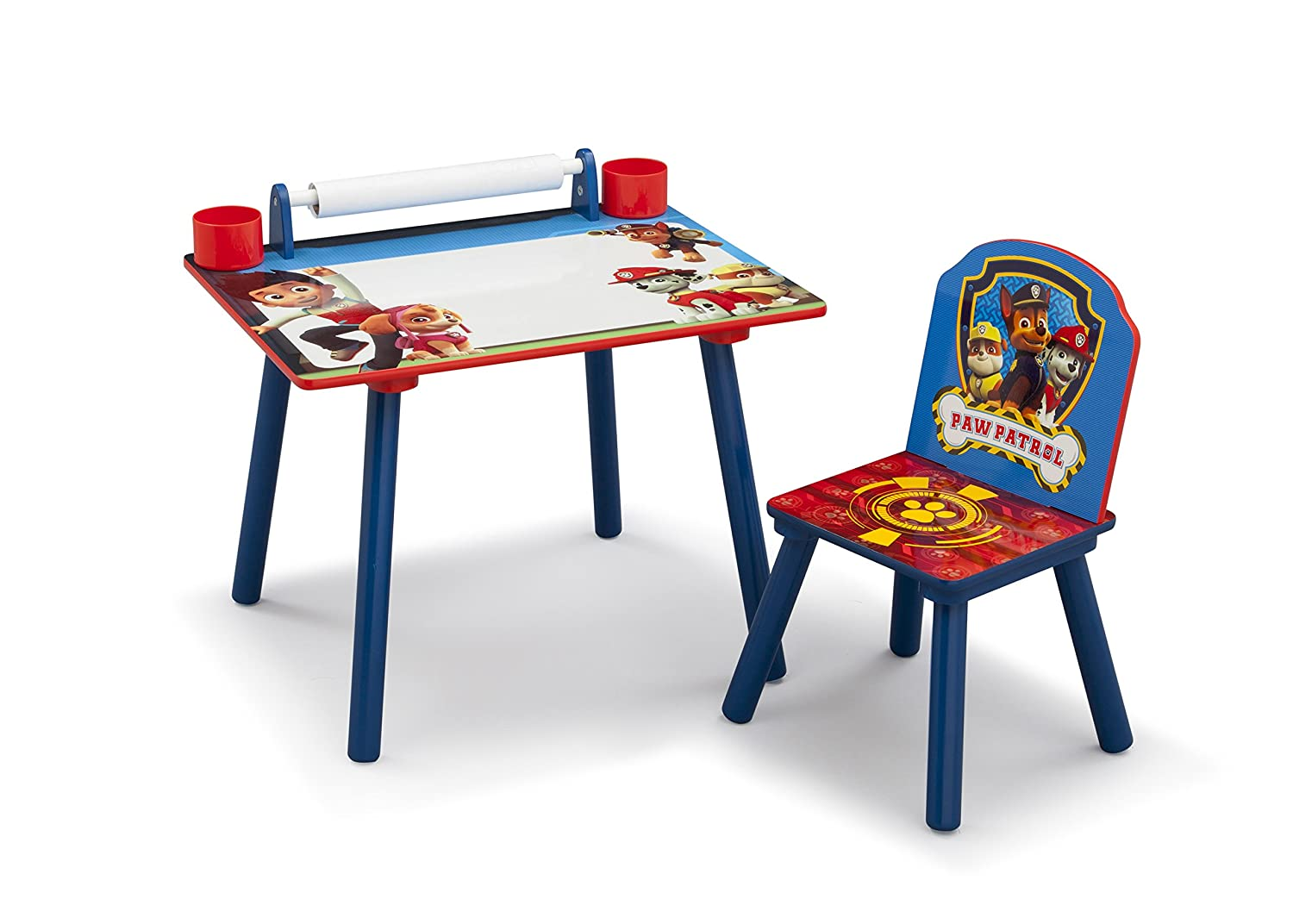 PAW Patrol Art Desk with Dry-Erase Tabletop and Color Book Paper Roll, Nick Jr. Delta Children TT89571PW-1121