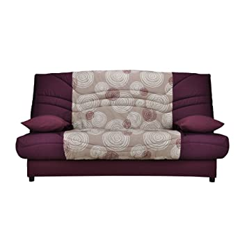 Banquette-lit clic-clac 130cm 26kg, motif cercle prune: Amazon.fr ...