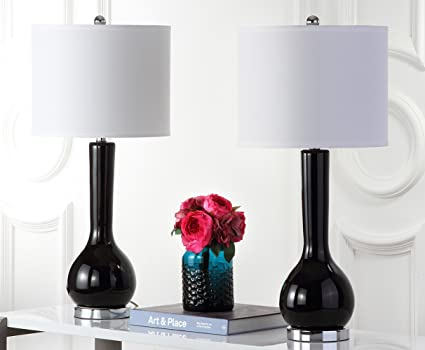 Safavieh mae long neck ceramic table lamp silver base and black neck set of