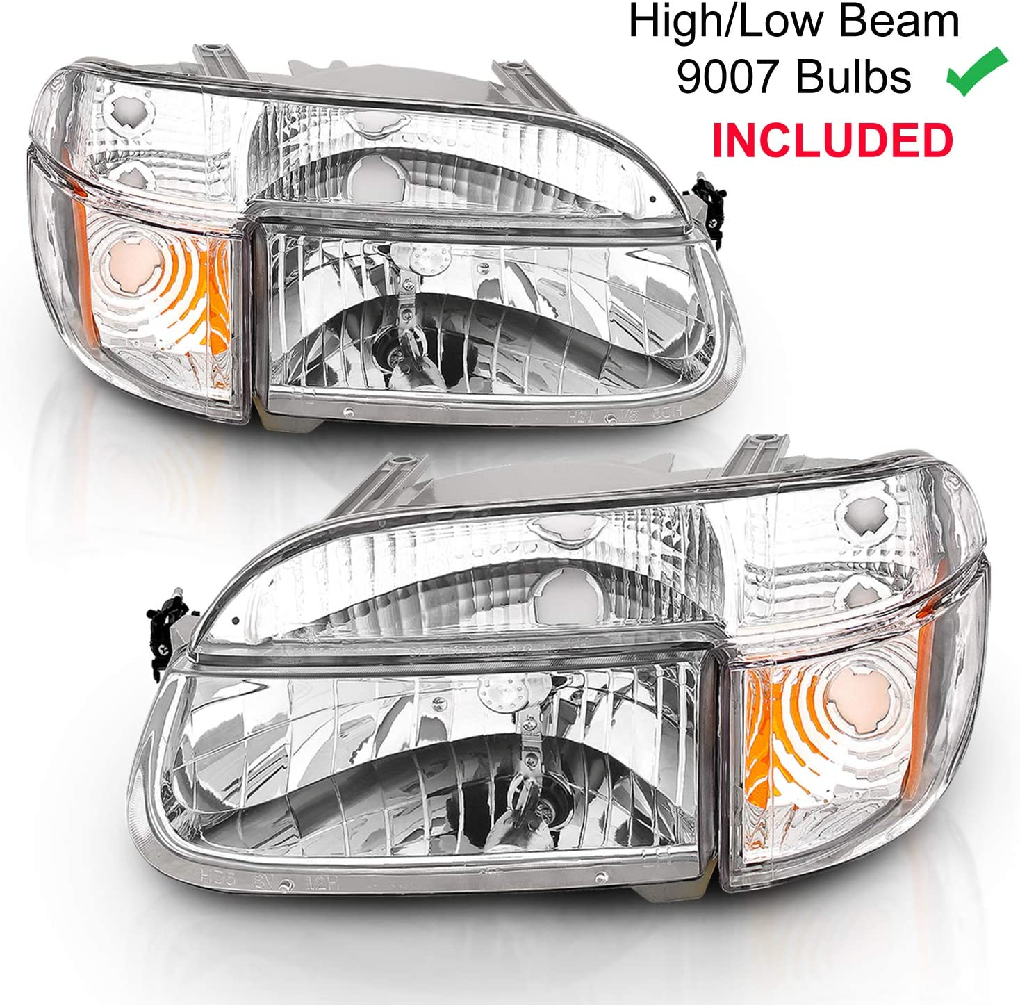 Amazon Com Amerilite Chrome Replacement Headlights Lamp W Corner Parking Turn Signal For 1995 2001 Ford Explorer Passenger Right And Driver Left Side Automotive