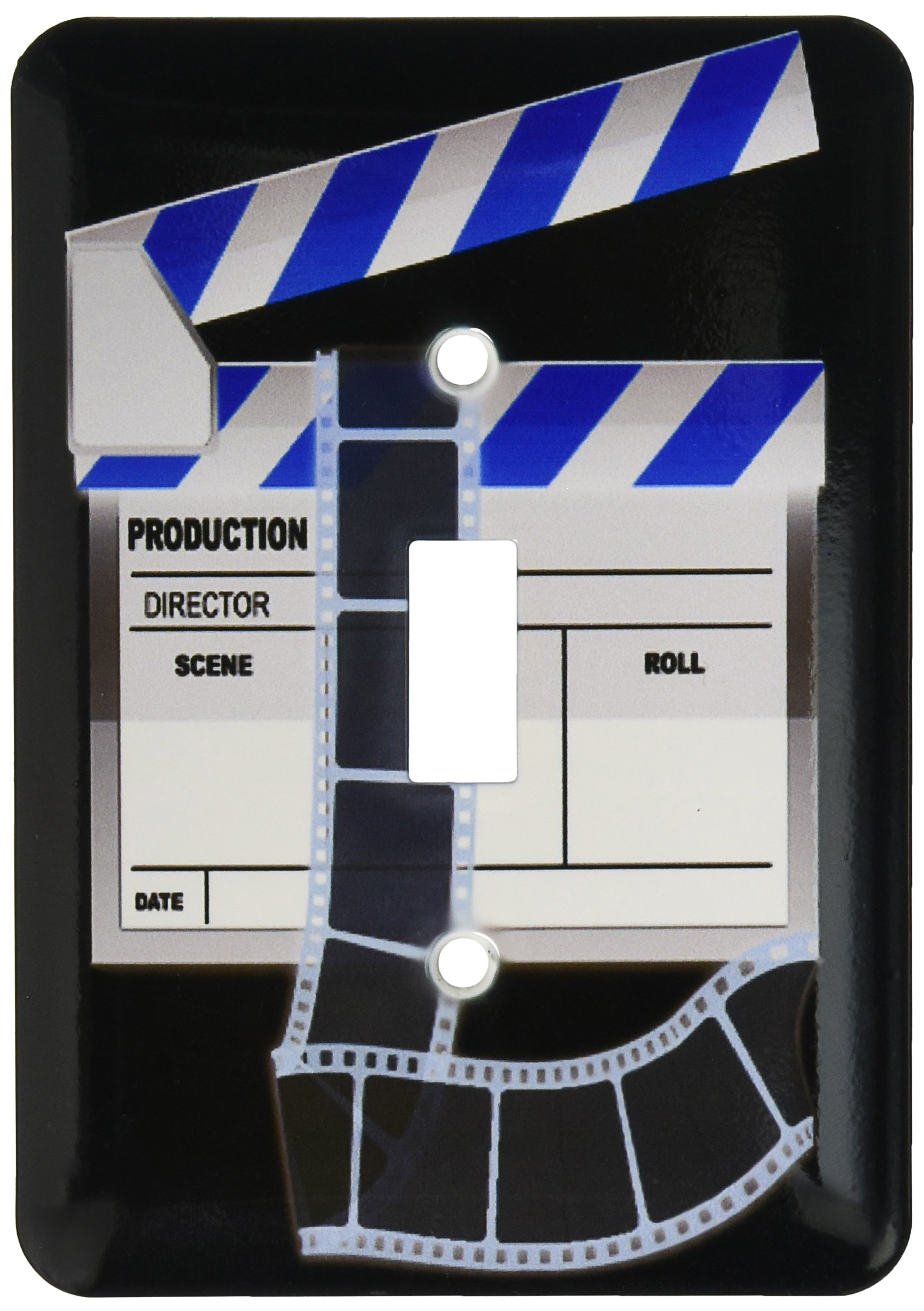 3dRose lsp_101294_1 Blue & White Movie Clapboard Single Toggle Switch