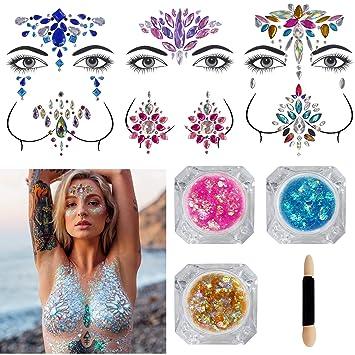 a983f28c1 Festival Face Jewels - 6 Sets Women Mermaid Face Gems Glitter Breast Nipple  Body Jewelry Stickers