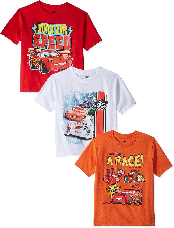 Disney Little Boys' Toddler Cars 3 Pack T-Shirt, Multi, 5 T: Clothing