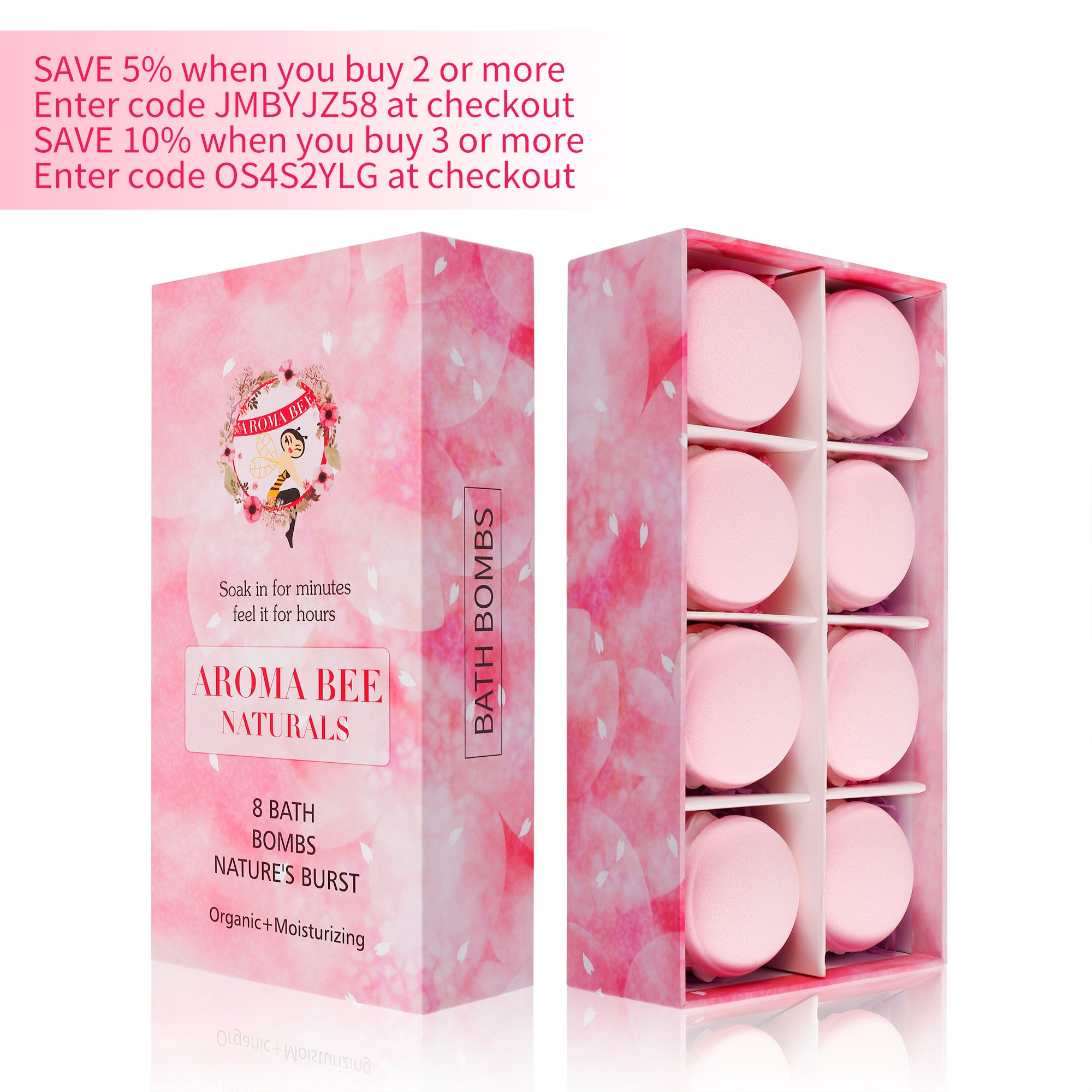 8 Bath Bombs Gift Set for Women Mothers Day Gifts Best Birthday Valentine Gift Ideas Natural Essential Oil Lush Fizzies by Aroma Bee (4.8 oz, Rose) by Aroma Bee (Image #6)