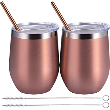 BBTO 2 Sets 12 oz Stainless Steel Stemless Wine Glass, Unbreakable Double Wall Insulate Cup Tumbler with Lids for Wine, Coffee, Including 2 Pieces Straws and 2 Pieces Brushes (Rose Gold)