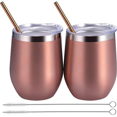 Amazon.com: BBTO - Juego de 2 copas de vino sin tallo de ...