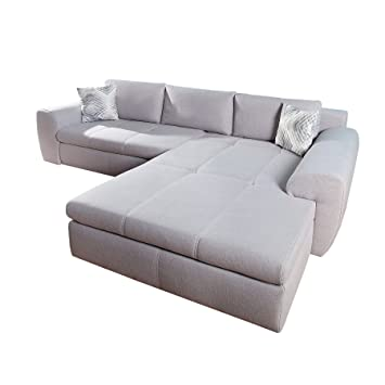 Modernes Sofa Grau Bettfunktion Smooth 290cm Hellgrau Inkl