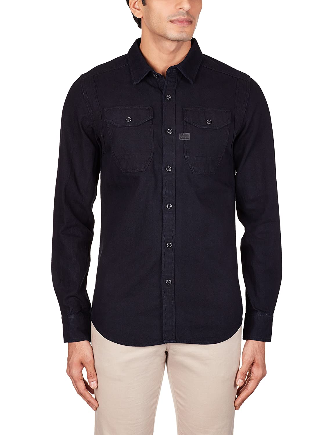 a16e83a120 G-Star Raw Men s Wolker Straight Long Sleeve Button-Up Shirt In Indigo  Herringbone Dip and Dry