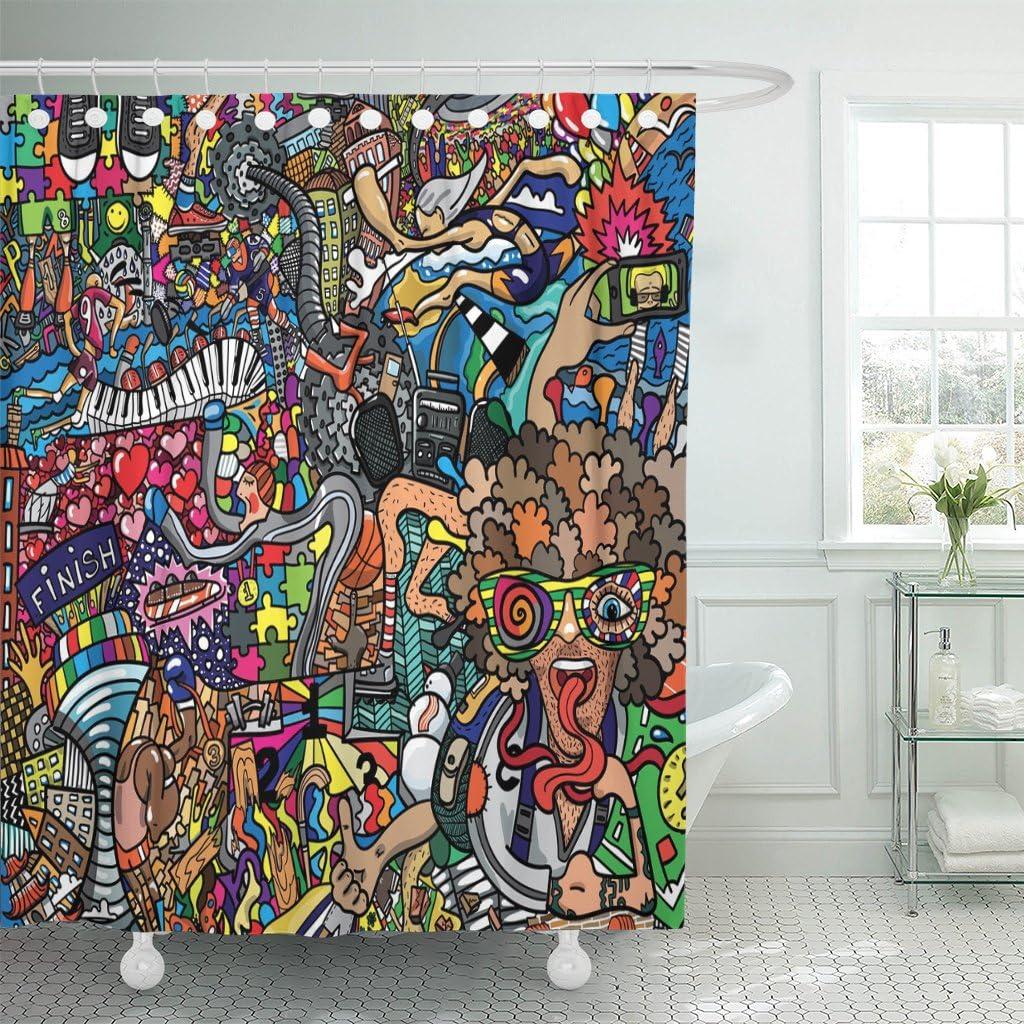 Street Art Design Grafitti Urban Texture Waterproof Fabric Shower Curtain Set