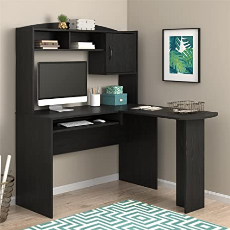 L Shaped Desk With 2 Cubbies Hutch Combination Is Perfect For Corner Placement Or Against