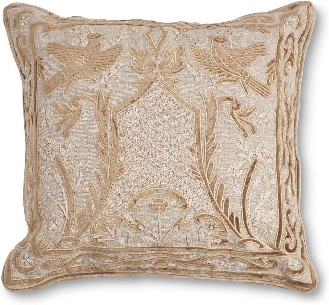 K K Interiors 16095a 20 Inch Camel Linen And Velvet Embroidered Pillow Tan Home Kitchen