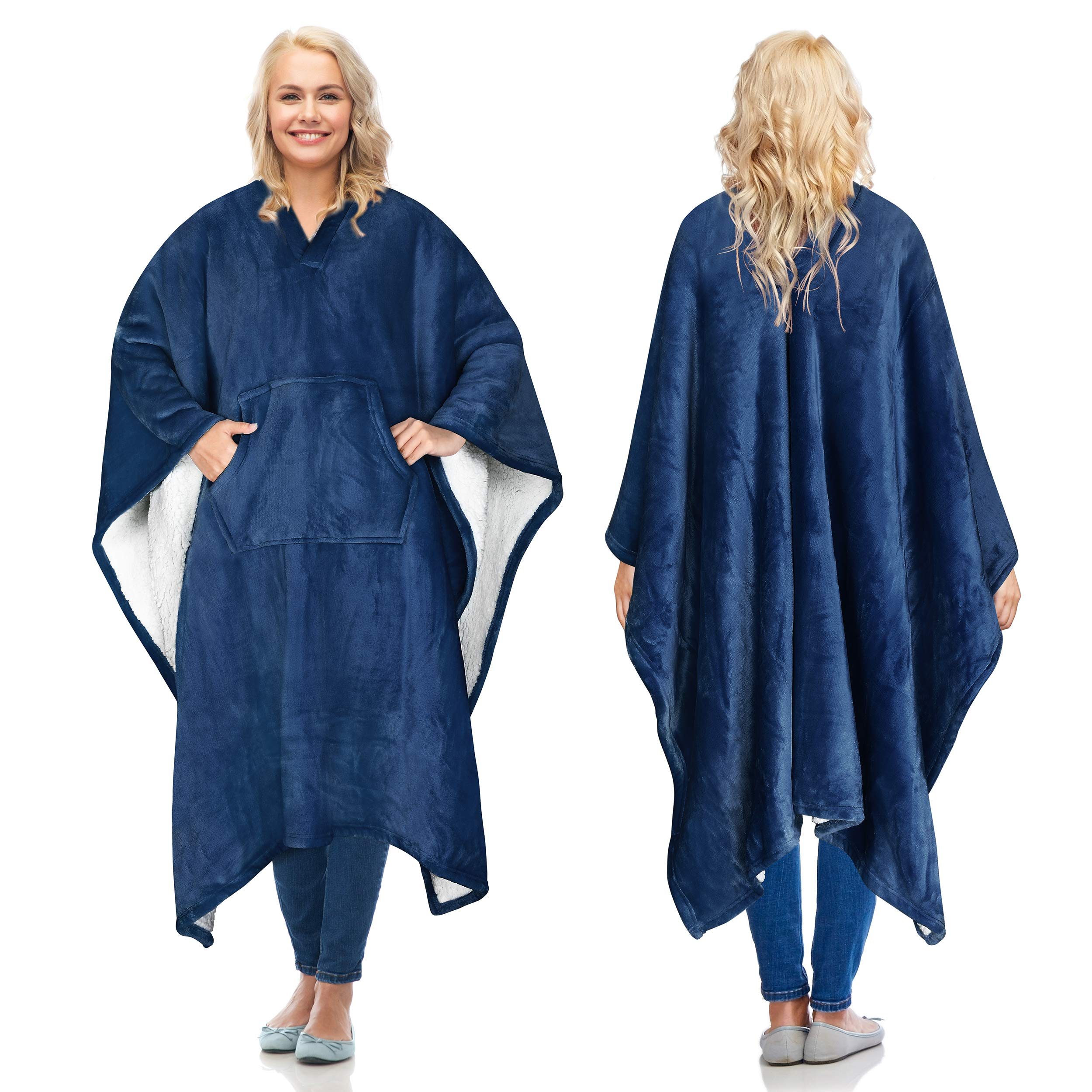 Catalonia Sherpa Wearable Blanket Poncho for Adult Women Men,Wrap Blanket Cape with Pocket,Warm,Soft,Cozy,Snuggly,Comfort Gift,No Sleeves,Navy by Catalonia